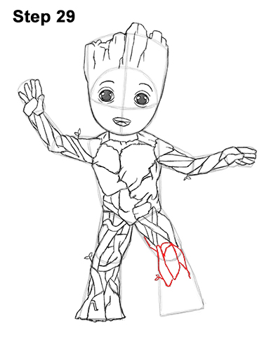 How to Draw Baby Groot Full Body Guardians of the Galaxy 29