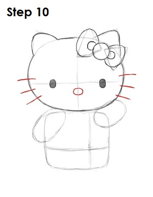 Draw Hello Kitty Step 10