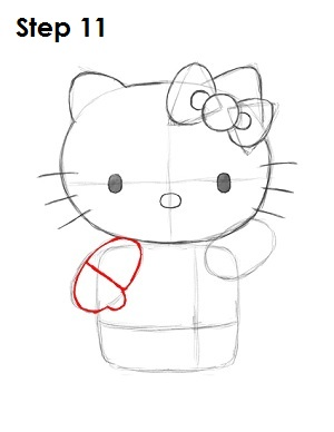 Draw Hello Kitty Step 11