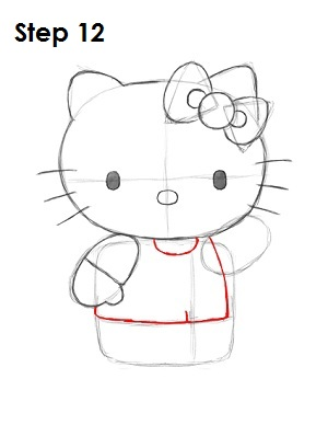 Draw Hello Kitty Step 12