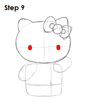 Draw Hello Kitty Step 9