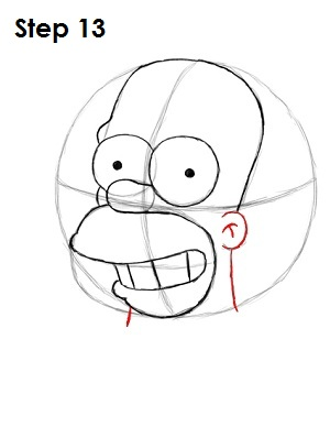 Draw Homer Simpson Step 13