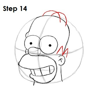 Draw Homer Simpson Step 14