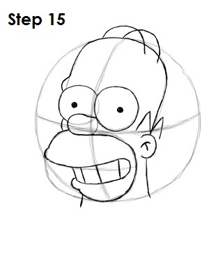 Draw Homer Simpson Step 15