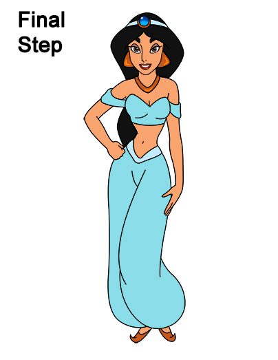 Draw Jasmine Full Body Aladdin