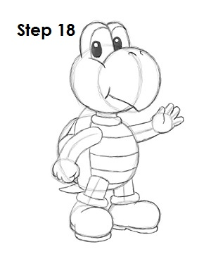 How to Draw Koopa Troopa Step 18