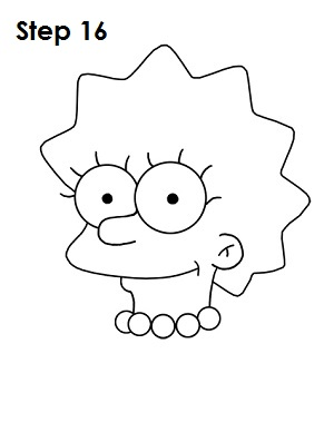 Draw Lisa Simpson Step 16