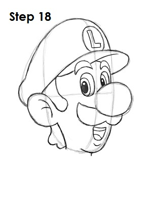 How to Draw Luigi Step 18