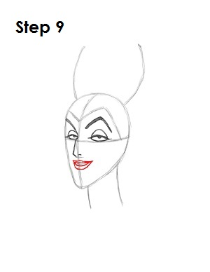 How to Draw Maleficent Step 9