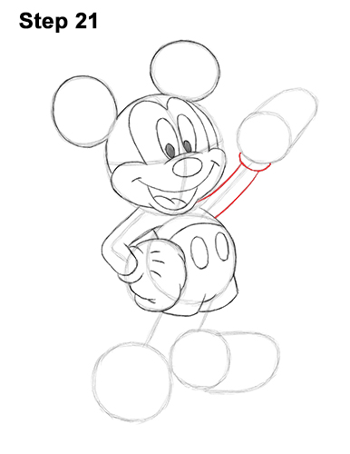 How to Draw Classic Mickey Mouse Full Body Disney 21