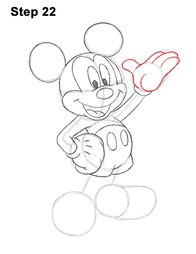 How to Draw Classic Mickey Mouse Full Body Disney 22
