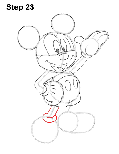 How to Draw Classic Mickey Mouse Full Body Disney 23