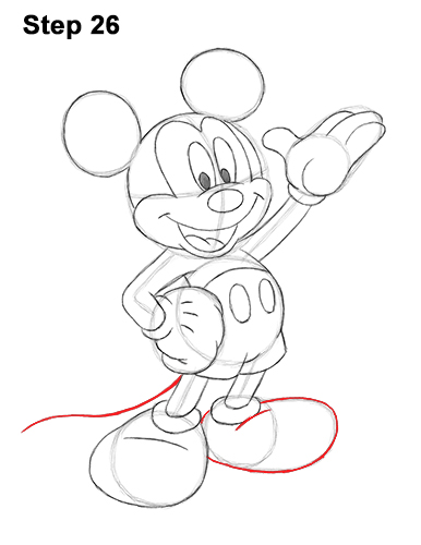 How to Draw Classic Mickey Mouse Full Body Disney 26