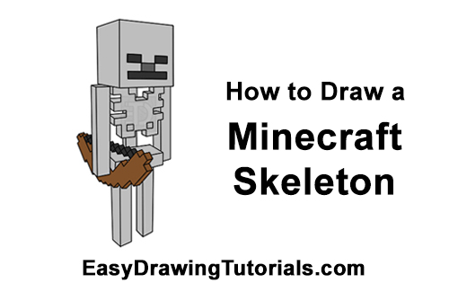 How to Draw Minecraft Skeleton Bow