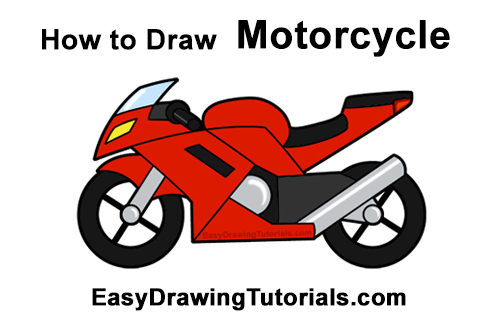 How to Draw Cartoon Sport Bike Motorcycle Red Clipart