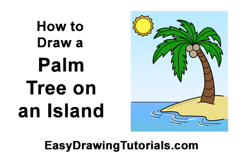 How to Draw Cartoon Palm Tree Tropical Island Beach Clipart