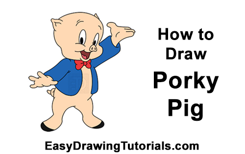 How to Draw Porky Pig Full Body Looney Tunes