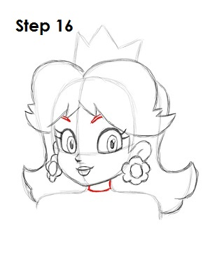 Draw Princess Daisy Step 16