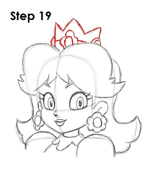Draw Princess Daisy Step 19