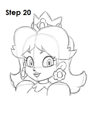 Draw Princess Daisy Step 20