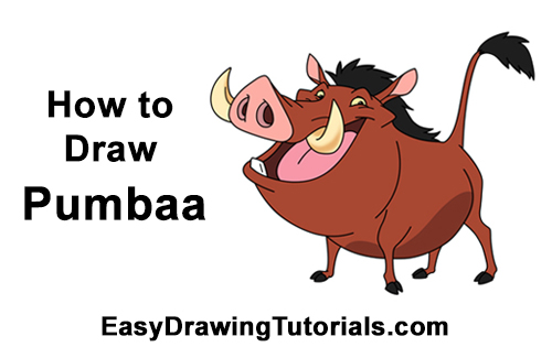 How To Draw Pumbaa Form The Lion King I always thought that the lines were meant to be black and then i looked at other peoples art and the outlines turned out to be nearly the. how to draw pumbaa form the lion king