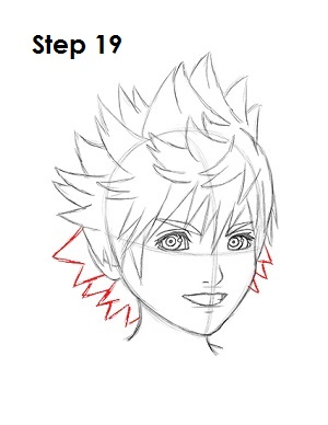 How to Draw Roxas Step 19