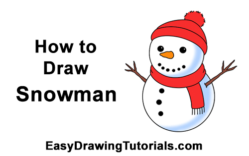 How to Draw Santa Cute Cartoon Snowman Hat Scarf
