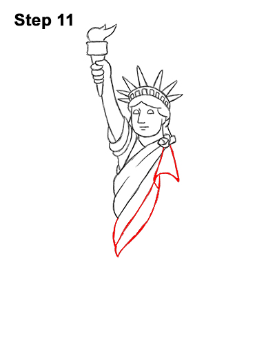 How to Draw Cartoon Statue of Liberty 11