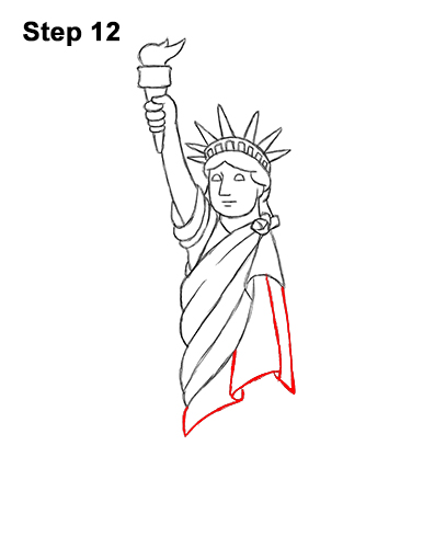 How to Draw Cartoon Statue of Liberty 12