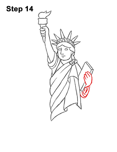 How to Draw Cartoon Statue of Liberty 14
