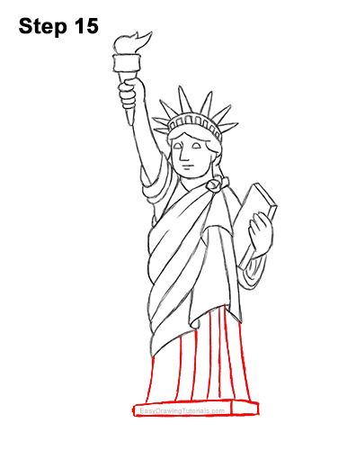 How to Draw Cartoon Statue of Liberty 15
