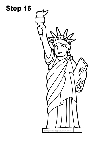 How to Draw the Statue of Liberty VIDEO & Step-by-Step ...