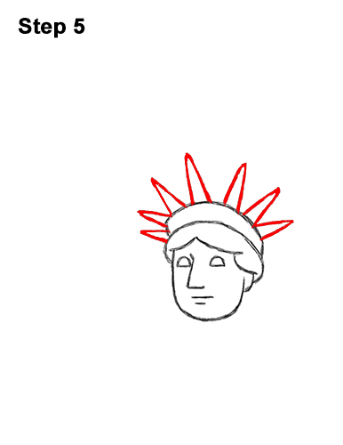 How to Draw Cartoon Statue of Liberty 5