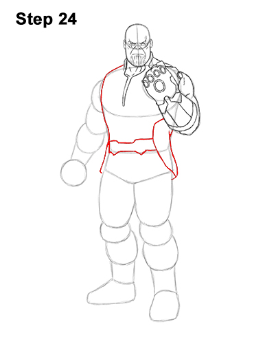 How to Draw Thanos Marvel Avengers Full Body 24