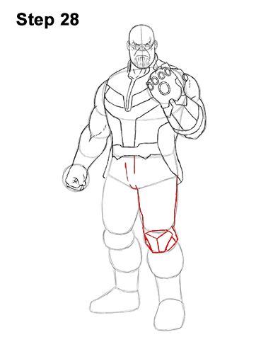 How to Draw Thanos Marvel Avengers Full Body 28