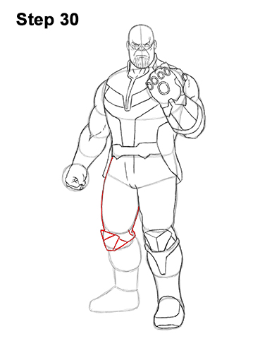 How to Draw Thanos Marvel Avengers Full Body 30