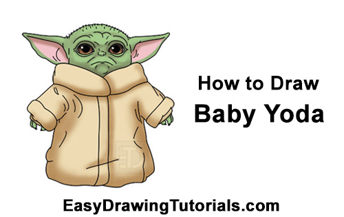 How to Draw The Child Baby Yoda Mandalorian Star Wars