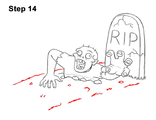 How to Draw Cartoon Zombie Coming out of the Ground 14