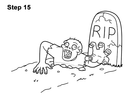 How to Draw Cartoon Zombie Coming out of the Ground 15