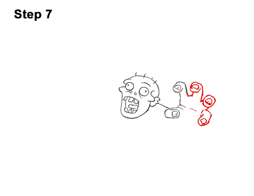 How to Draw Cartoon Zombie Coming out of the Ground 7