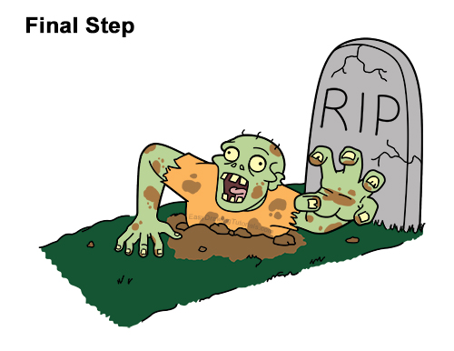 How to Draw Cartoon Zombie Coming out of the Ground Clipart